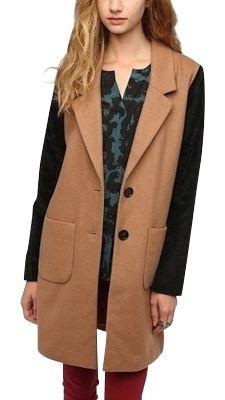 two tone long wool coat