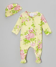 Love this Yellow & Pink Rose Footie & Beanie - Infant by Mad Sky on #zulily! #zulilyfinds