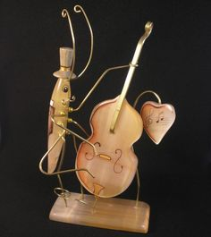 #Selenite #figurine The #cockroach and #Contrabass #hand #painted on a #stone