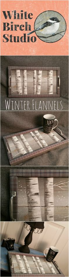 Decorative tray, White Birch tree, Flannel plaid, Barn wood Serving Tray, table tray, distressed upcycled wood This unique piece is 19 in x 11 in.   Are you looking for a unique, personal touch to your WINTER decor? This tray will look great on your coffee table with hand-painted white birch trees with snow falling. The tray edge is wrapped with plaid fabric for a unique look with aluminium handles.