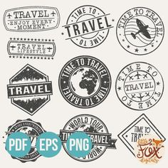 Travel set of travel and tourism stamp designs Premium Vector Whimsy Stamps, Mft Stamps, Travel Sticker, Travel Stamp, Posters Vintage, Passport Stamps, Wax Stamp, Vintage Stamps, Travel And Tourism