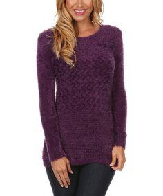Look what I found on #zulily! Purple Textured Knit Sweater - Women #zulilyfinds