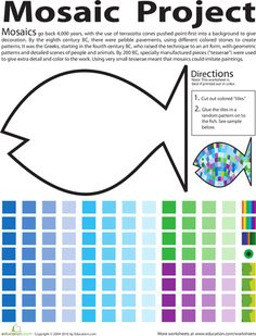 Second Grade Paper Projects Worksheets: Make a Fish Mosaic Worksheet this would be great for a tie in with researching fish facts. Mosaic your particular fish. Paper Mosaic, Mosaic Art, Mosaics, 2nd Grade Art, Second Grade, Art Worksheets, Printable Worksheets, Art Curriculum, Mosaic Projects