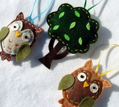 Owl Tree Ornaments Owls and Tree Ornaments by onesunnysunday, $16.50