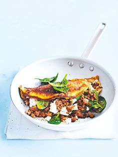soufflé omelette with harissa-spiced lamb from donna hay