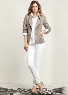 Lafayette148_Outfits_Urbane Weave Haven Jacket and Yarn-Dyed Denim 5 Pocket Skinny Jean