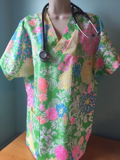 A personal favourite from my Etsy shop https://www.etsy.com/listing/481705290/nurses-scrub-top-lilly-pulitzer-hibiscus
