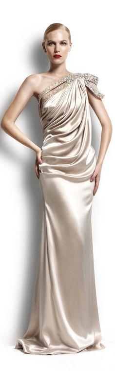 2 - Georges Hobeika Haute Couture - Ecru Satin Draped Bodice, Gown With One Shoulder Embellishment Satin Dresses, Formal Dresses, Wedding Dresses, Bridesmaid Dresses, Prom Dresses, Chiffon Dresses, Satin Gown, Dresses 2013, Quinceanera Dresses