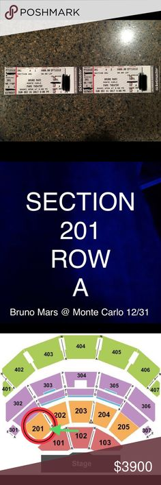Bruno Mars Tickets 12/31 Great Seats!! On New Year's Eve at Monte Carlo Park Theater Las Vegas!! 2 TICKETS WILL BE SOLD TOGETHER!! Section 201 Row A Seats 1&2  I will ship tickets out immediately once sale is made!! Other