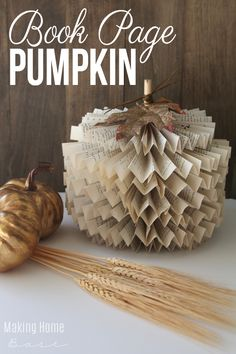 How to make a book page pumpkin - you'll love this easy fall decor!
