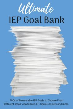 IEP goal banks to help you with your IEP development; also tips for how to make your goals SMART IEP goals for: executive functioning, IEP organization, goal tracking and more. organization The Ultimate IEP Goal of Measurable IEP Goals to choose from! School Ot, School Social Work, School Goals, School Tips, School Ideas, School Websites, School Resources, Teacher Resources, School Stuff