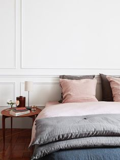 Spring 2017 Pantone Pale Dogwood - Blush Pink Interiors by www.perfect-imperfect.com Dream Bedroom, Home Bedroom, Bedroom Decor, Master Bedroom, Bedroom Linens, Pretty Bedroom, Bed Linens, Bedroom Apartment, Parisian Apartment
