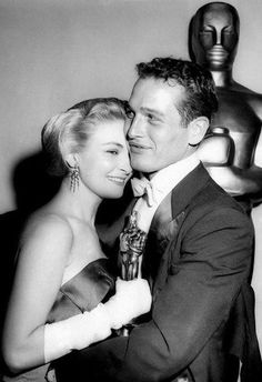 """vintage-hollywood-royalty:  """"Paul Newman and Joanne Woodward at the Oscars.  """"  The couple pictured just after Joanne's Best Actress win at the 1958 ceremony for The Three Faces of Eve."""