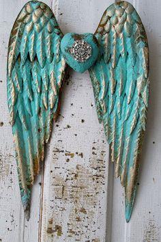 Metal angel wings distressed aqua Caribbean blue gold w/ rhinestone heart shabby cottage chic wall hanging home decor anita spero design