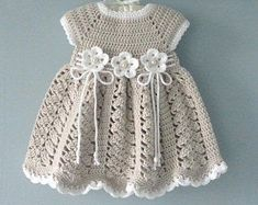 Best 11 Crochet Baby Dress Crochet Baptism Baby Girl Dress Christening Gown Baby Shower Baby Girl Outfit Knitted Baby Dress Newborn Baby Gift Thank you very much for visiting my store ! My original design and Handmade with love for Your Baby ! Crochet Baby Dress Pattern, Knit Baby Dress, Baby Girl Crochet, Crochet Baby Clothes, Knitted Baby, Crochet Baby Dresses, Kids Crochet, Crochet Summer, Hand Crochet