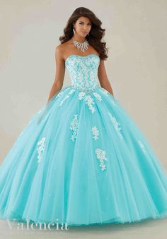 Morilee Valencia Quinceanera Dress 89086 Lace appliqués and beading on a tulle ball gown  Colors: Aqua/white and Champagne/white: