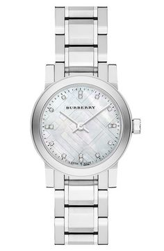 Burberry Small Round Diamond Dial Bracelet Watch, 26mm available at #Nordstrom
