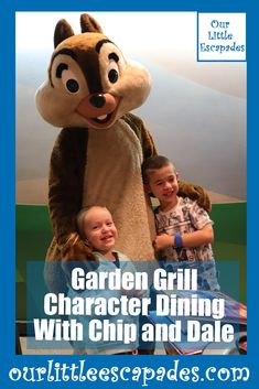 The Garden Grill character dining with chip and dale in Epcot