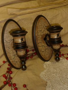 Primitive Wood Candle Holders Wall Sconce Tan Crackle Star Farm Country Decor | eBay