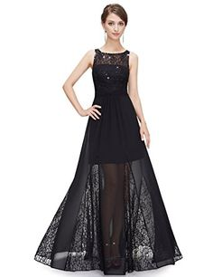 2ee0ef35f39f Ever Pretty Womens Sleeveless Lace Illusion Semi Sheer LBD 4 US Black  Celebrity Prom Dresses