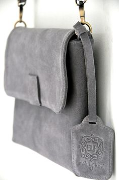 DUNE Grey clutch / crossbody purse  / suede bag / suede by BaliELF, $110.00