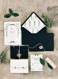 Black and Green Wedding Invitations | photography by http://www.carriekingphoto.com/