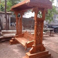 Hand Carved Swing Made From Ghana Teak Wood. ⛏🔨📐📏🏠Follow ➡