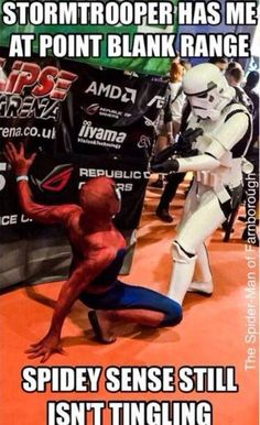 That's because Spidey sense knows there isn't any real danger, since Stormtroopers can never hit their targets.