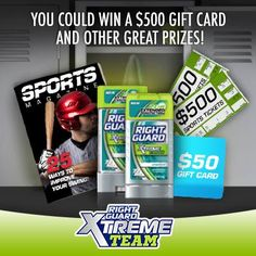 Right Guard XTreme Team Instant WIN Game WIN gift cards from Ticketmaster, Sporting Good stores & more Enter DAILY–Ends 12/31