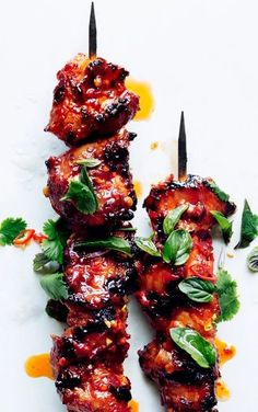 Sambal Chicken Skewers by bonappetit: Made with a finger licking spicy, sticky glaze. #Chicken_Skewers #Healthy
