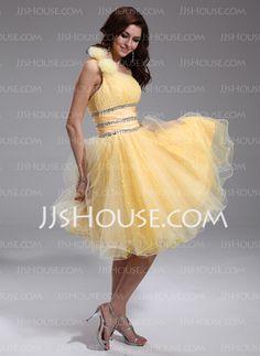 Homecoming Dresses - $126.99 - A-Line/Princess One-Shoulder Knee-Length Taffeta Organza Homecoming Dress With Ruffle Beading Flower(s) (022020921) http://jjshouse.com/A-Line-Princess-One-Shoulder-Knee-Length-Taffeta-Organza-Homecoming-Dress-With-Ruffle-Beading-Flower-S-022020921-g20921