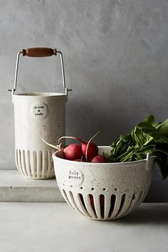 Dairy Pail Utensil Jar and veggie collander. Farmhouse style accessories that are functional and decorative at the same time. Ceramic Clay, Ceramic Bowls, Pottery Bowls, Ceramic Pottery, Tabletop, Keramik Design, Pottery Classes, Pottery Designs, Kitchen Collection