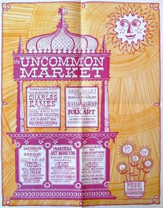 "Poster for Herman Miller's ""Uncommon Market"" by Alexander Girard and Charles Eames, 1962 Alexander Girard, Vintage Lettering, Modern Graphic Design, Herman Miller, Vintage Advertisements, Vintage Posters, Vintage Art, Bunt, Illustrations Posters"
