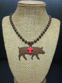Rustic Copper Show Pig Necklace | Showring Silhouettes