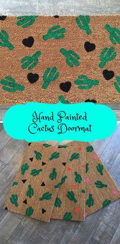 Beautiful Hand Painted Cactus Doormat!! Perfect housewarming gift!!