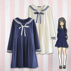 Japanese students navy bow dress