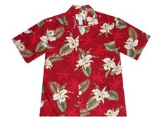 KY's Red Mens Button Down Hawaiian Shirt with White Orchids