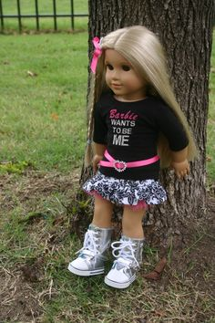 Barbie wants to be me outfit for your 18 inch by MiniMeDollyDivas, $25.00   LOL! I LOVE the Barbie wants to be ME t-shirt!