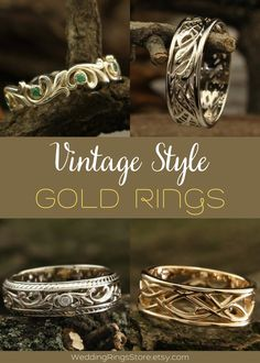 Vintage Style Gold rings for men and women by WeddingRingsStore. Vintage ring weaves with genuine stones. Vintage Engagement and wedding rings. White and Yellow Gold Wedding bands with stones - Citrine, Diamond, Emerald, Ruby, Sapphire, Topaz, Amethyst, Garnet, Peridot or Cubic Zirconia of different color. Vintage style wedding rings in white and yellow gold 14K. Vintage wedding gemstones rings for mens and womens. Anniversary gift for him #vintagering #Diamondring #jewelry #jewellery