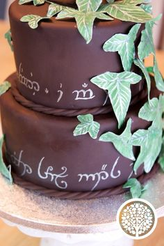 Lord of the Rings bridal shower cake. Hand painted elvish and handmade leaves. All edible.