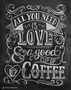All You Need Is Love & Coffee - A2 Note Card - by Lily & Val
