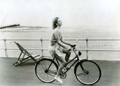 "Emily Lloyd rides a bike. From the movie ""Wish You Were Here"" filmed in my hometown of Worthing, Sussex, UK."
