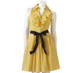 ELLE Polka-Dot Ruffle Shirtdress ($45) ❤ liked on Polyvore