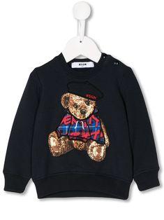 Msgm Babies' Embroidered Teddybear Sweatshirt In Black Msgm Kids, Teddybear, Kids Fashion, Fashion Design, Baby Design, Baby Boy, Women Wear, Graphic Sweatshirt, Babies