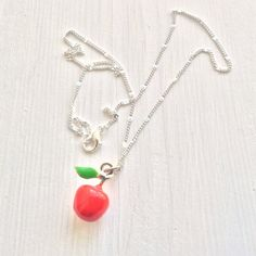 Apple necklace with silver plated chain  enamel by TheDorothyDays