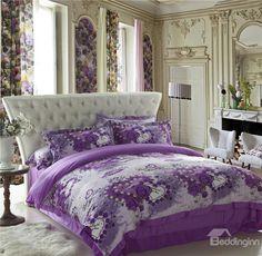 Romantic Heart Shape  Flower Print  Purple Sandedcloth material 4 Piece bedding Sets