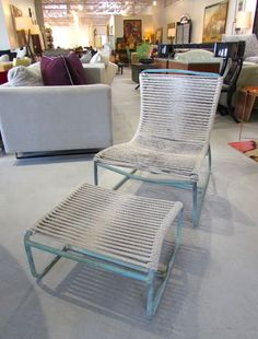 1950's Walter Lamb bronze sled chair and ottoman.