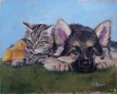 German Shepherd and Friends original oil painting fine art, tabby kitty cat, duck and dog on Etsy