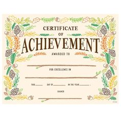 This creative woodland whimsy Certificate of Achievement award will help students feel special in their achievements.  The colorful woodland elements of leaves, acorns, pinecones, branches and berries give this Certificate of Achievement a unique look that works well for students in multiple grade levels!