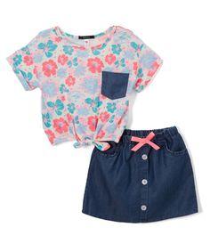 Vanilla & Denim Floral Tie-Front Top & Skirt - Infant & Girls